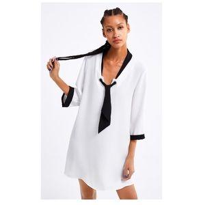 NWT Zara Elegant Tie Front Black and White Dress